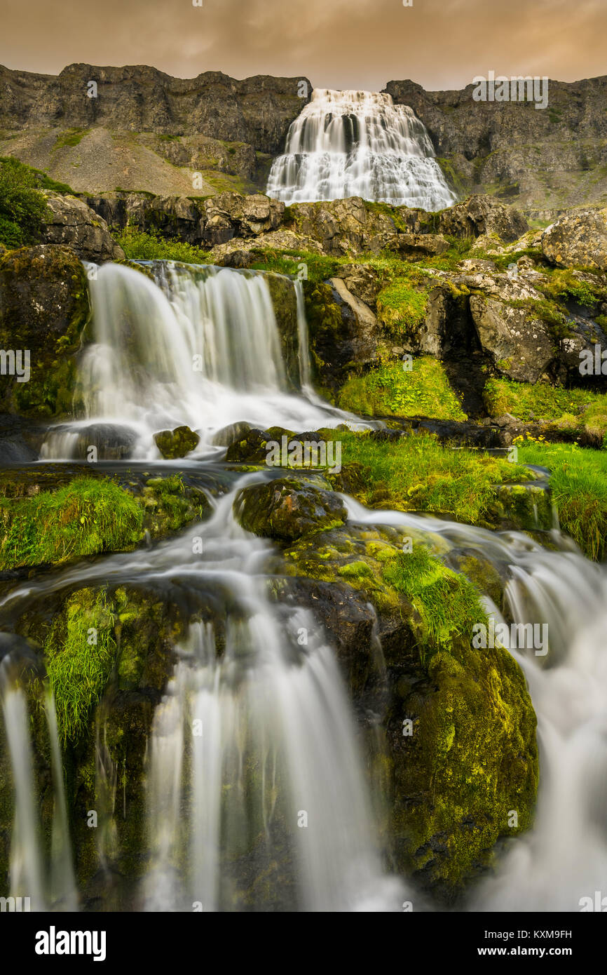 Mighty Dynjandi waterfall in the Westfjords of Iceland. - Stock Image