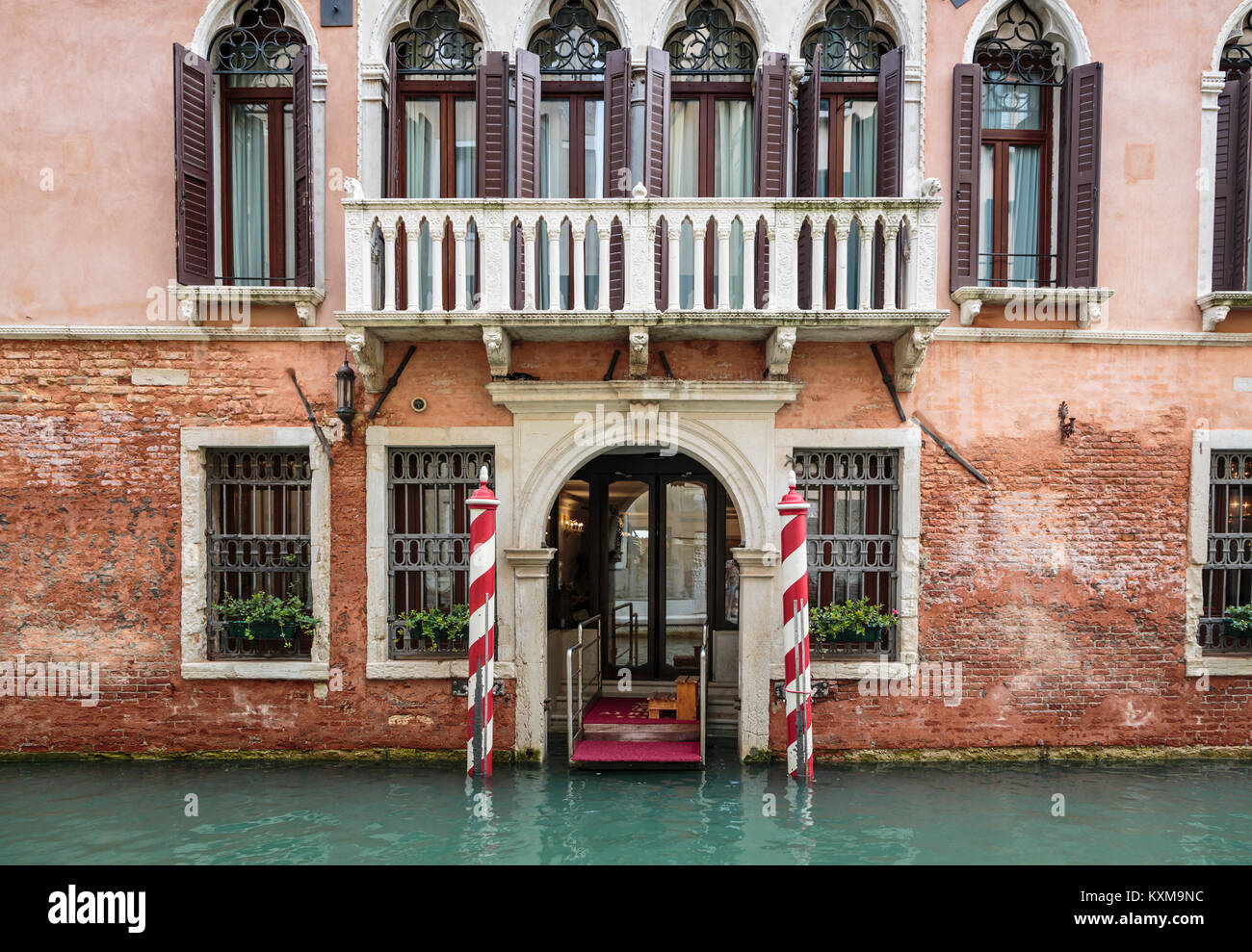 Building detail and canal in Veneto, Venice, Italy, Europe. - Stock Image