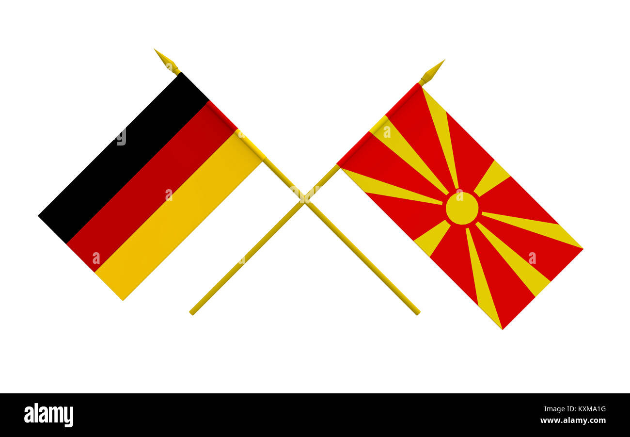 Flags of Germany and Macedonia, 3d render, isolated - Stock Image