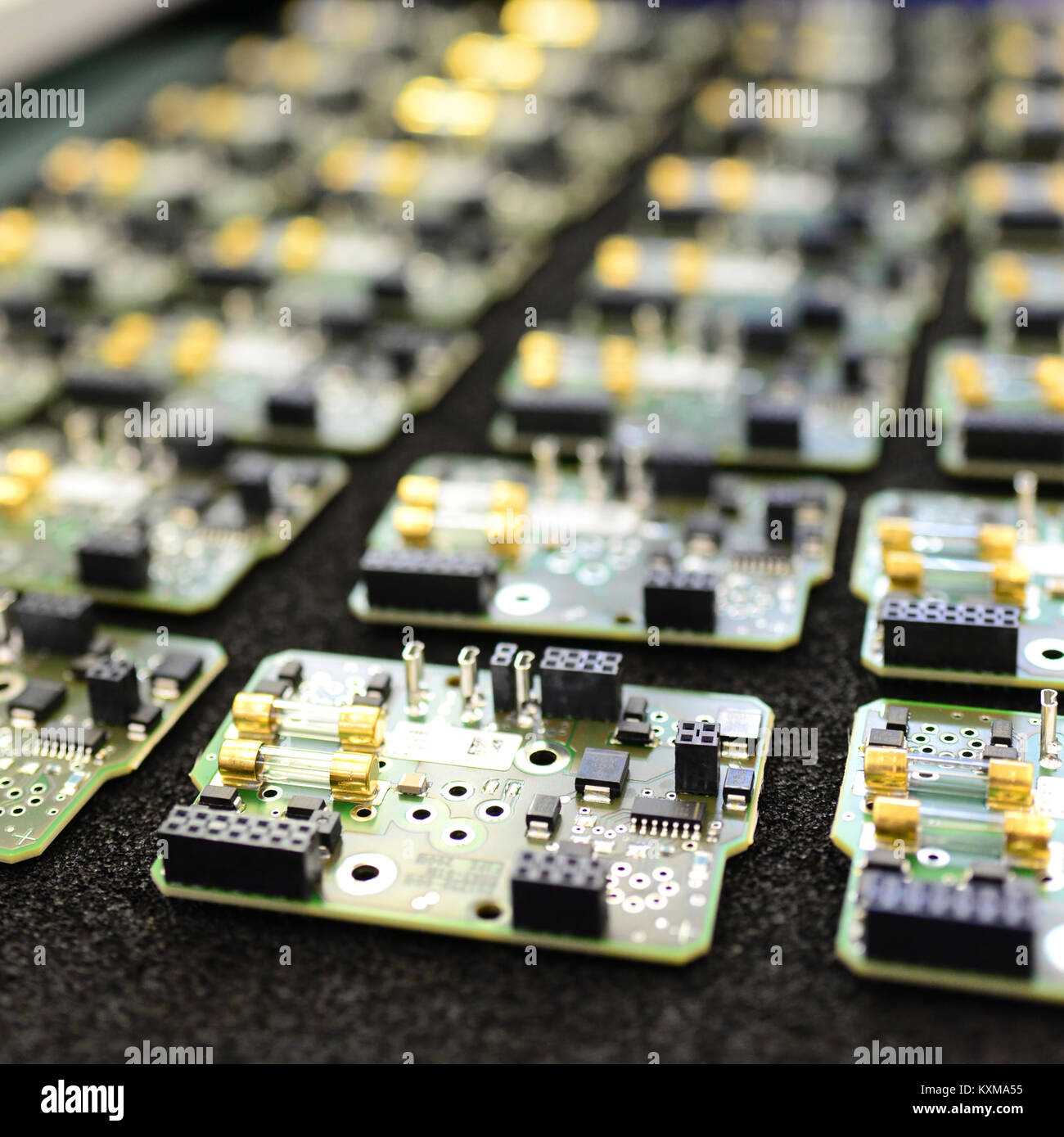 production and assembly of microelectronics in a hi-tech factory - Stock Image