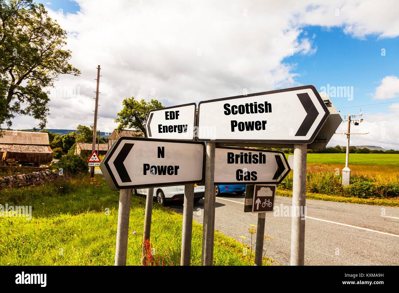 UK power companies, Scottish Power, N Power, EDF Energy, British Gas, energy providers UK England, electric company, - Stock Image