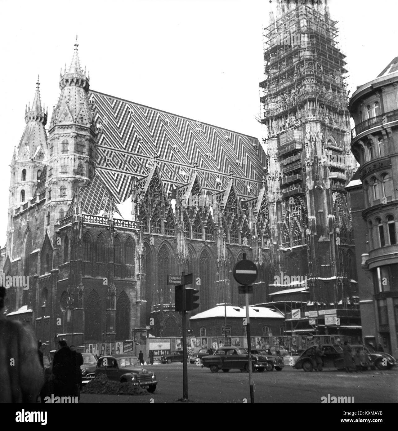 Vienna 1956 restoration from World War Two bombing on St. Stephen's Cathedral, Vienna Europe in 1956 - Stock Image