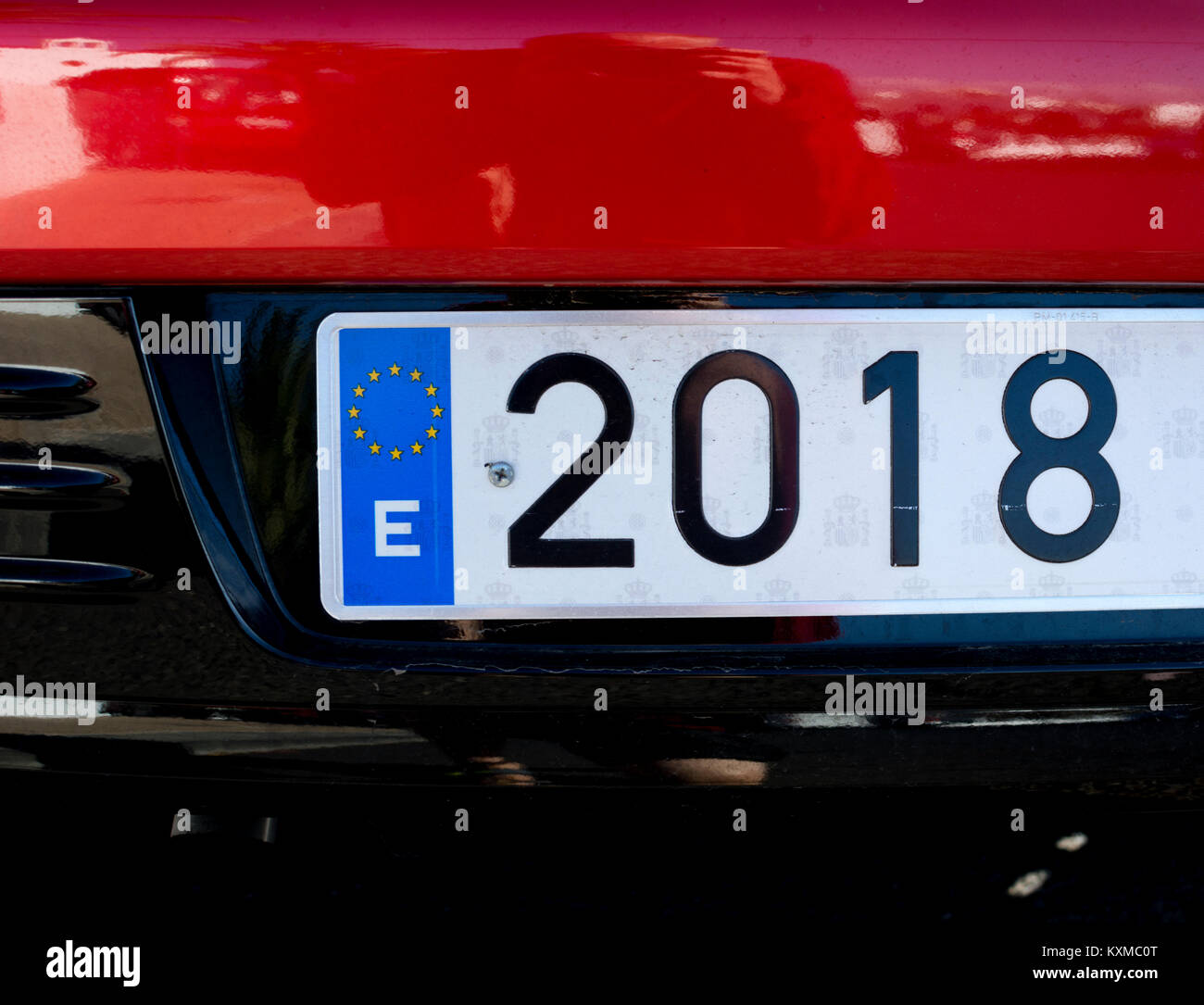 Spanish car registration plate with 2018 and EU symbol - Stock Image