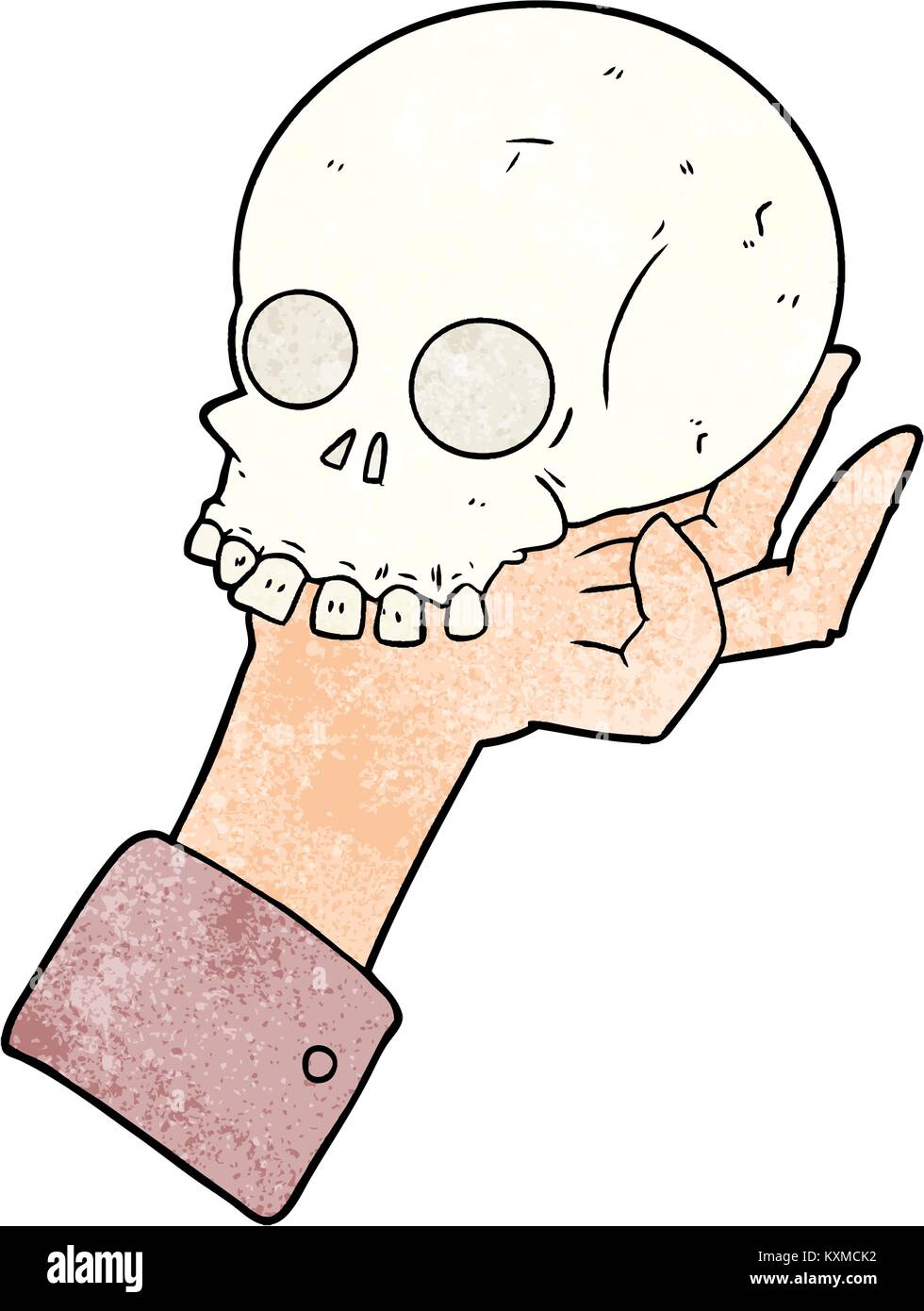cartoon hand holding skull - Stock Vector