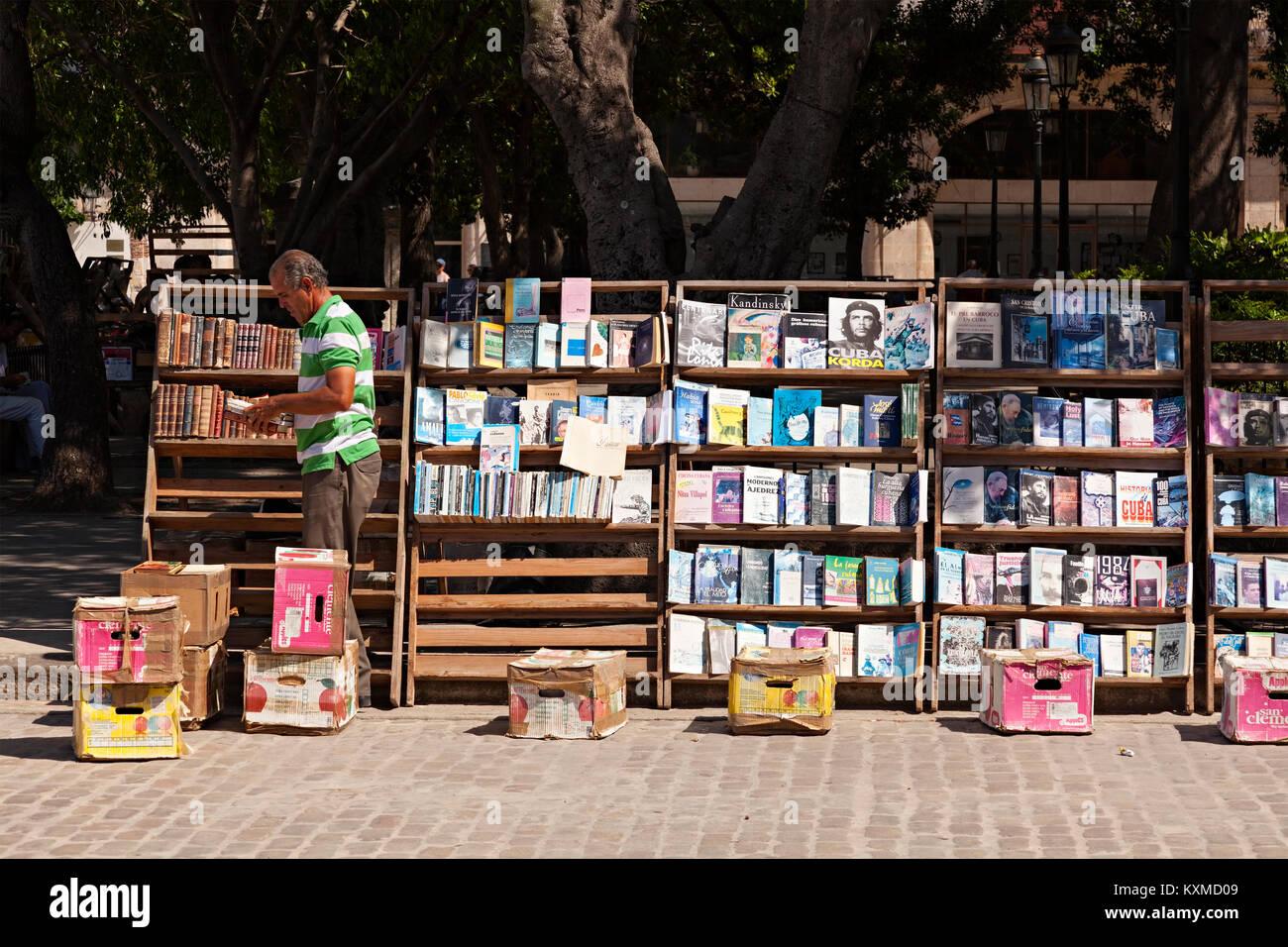 A book vendor along Calle Obispo in Havana, Cuba. - Stock Image