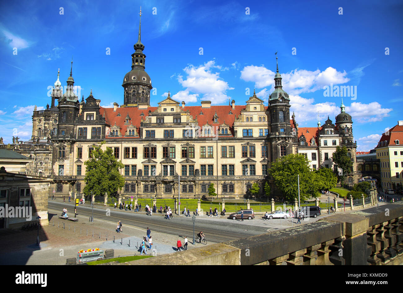 DRESDEN, GERMANY – AUGUST 13, 2016: Tourists walk on Sophienstrasse street and majestic view on  Saxony Dresden - Stock Image