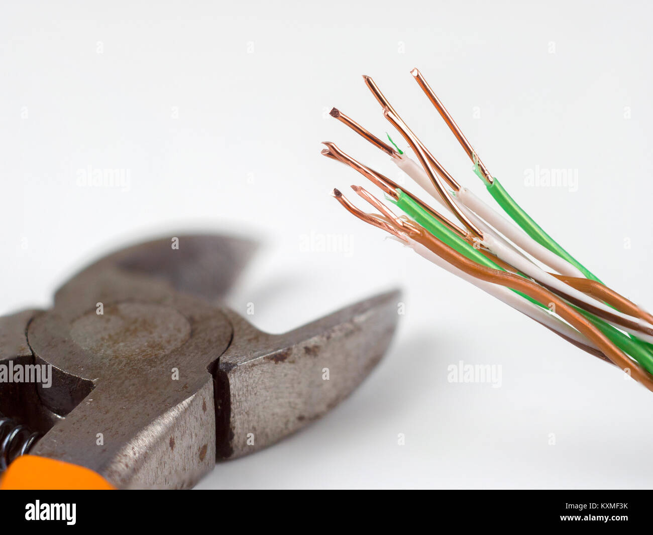 Electric Metal Wire Cutter Stock Photos Electronics Electricity Gt Optical Fiber Cable Power Side Cutters And The Ends Of Peeled Copper Image