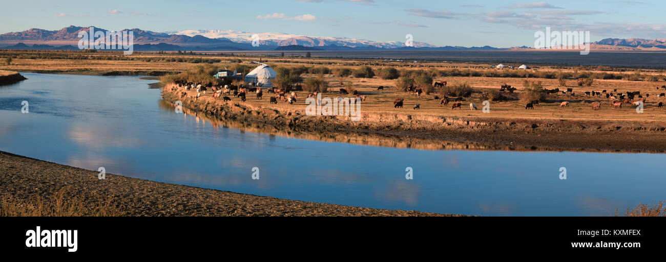 Sunset river Mongolia landscape plains grasslands steppes goats herd ger golden hour - Stock Image