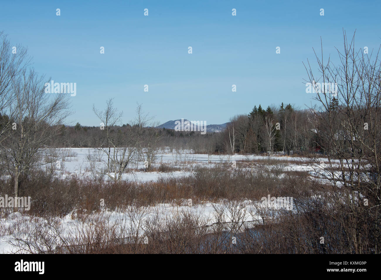 Snow and ice winter view of the Sacandaga River Valley in the Adirondack Mountains, New York, USA - Stock Image