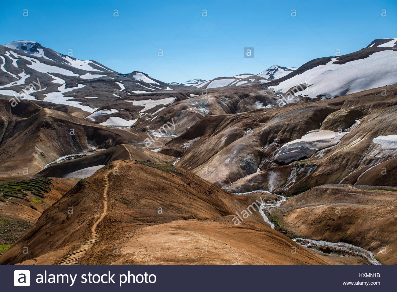 Landscape at the geothermal active valley,Kerlingafjoll,Iceland - Stock Image