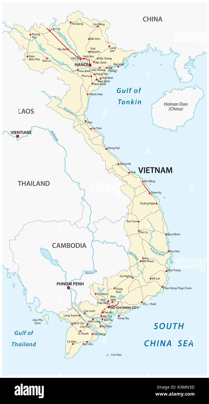 Socialist Republic of Vietnam road vector map - Stock Image