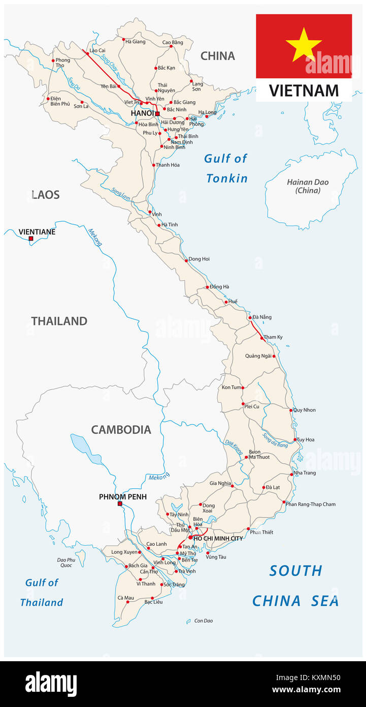 Socialist Republic of Vietnam road vector map with flag - Stock Image