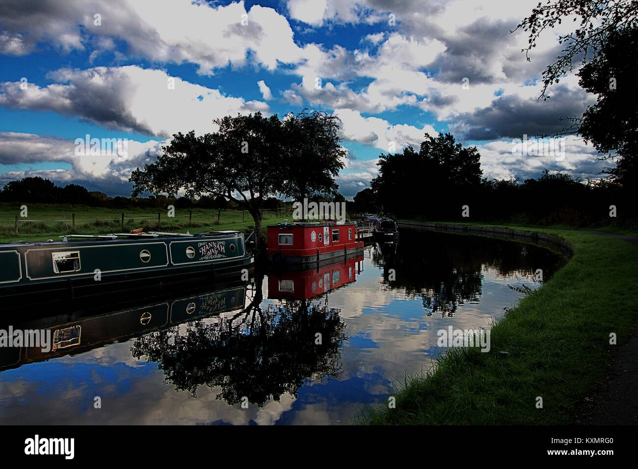 Image from the canal towpath on the Leeds to Liverpool Canal. Lancashire. - Stock Image
