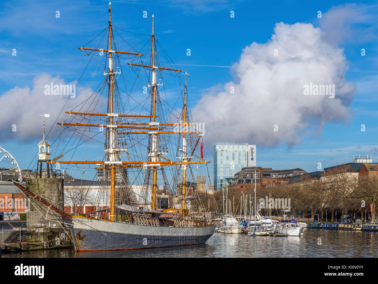 The Three Masted Barque Kaskelot moored in Bristol Harbour Stock Photo