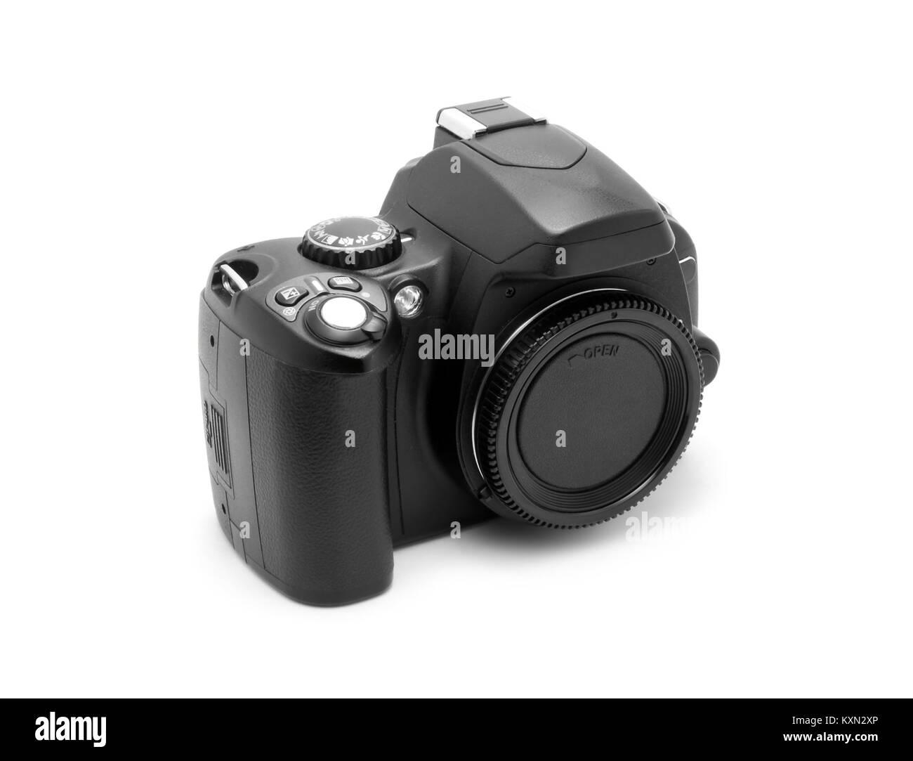 Dslr photo camera body isolated - Stock Image