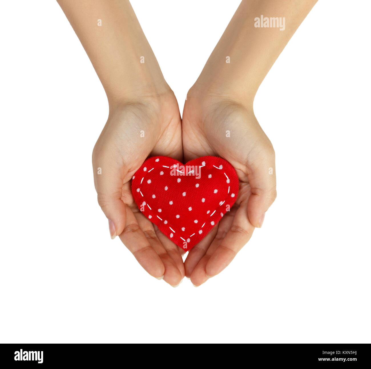 Image of hands holding heart isolated on white background. - Stock Image