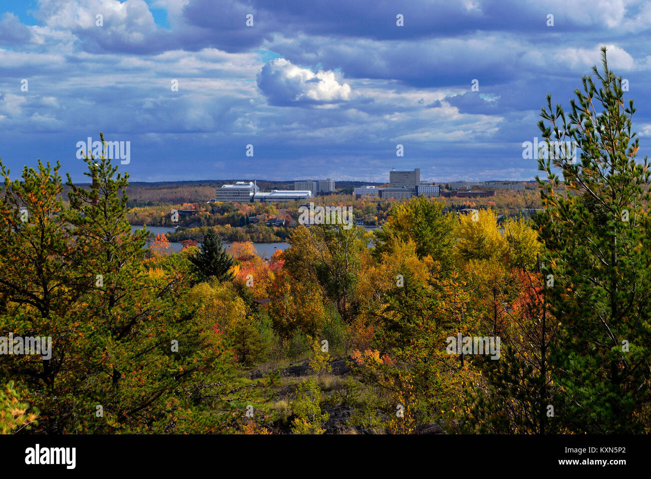 A spectacular view of Laurentian University from across Lake Ramsey - Stock Image