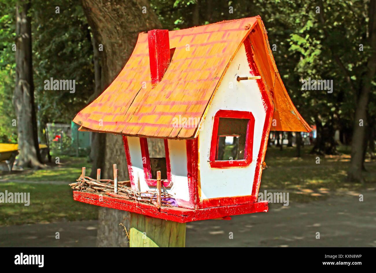 Birdhouse at park - Stock Image