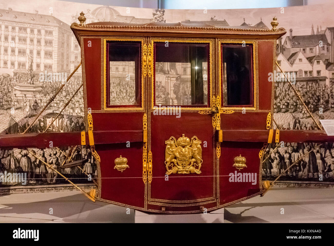 Sedan chair used by the Habsburg  Monarchy,  Imperial Carriage Museum, Schönbrunn, Vienna, Austria, Europe - Stock Image