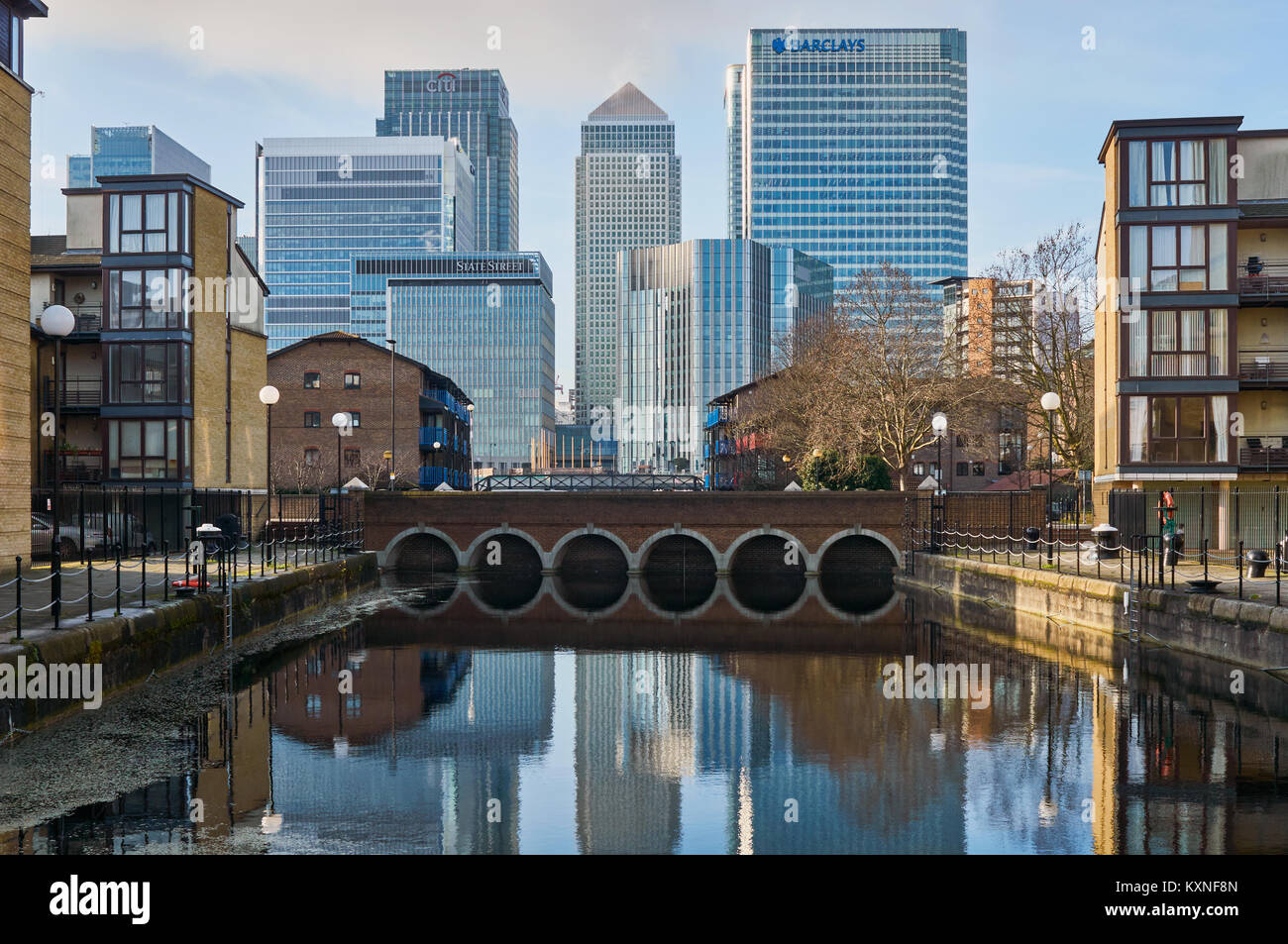 Canary Wharf  Business District on the Isle of Dogs, East London UK, viewed from the East - Stock Image