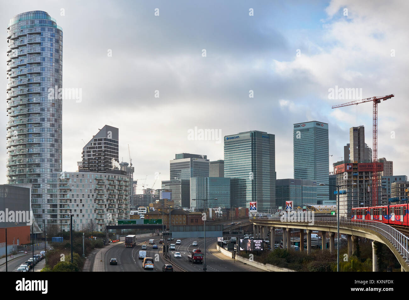 Canary Wharf and new apartment buildings, East London UK, viewed from the East - Stock Image