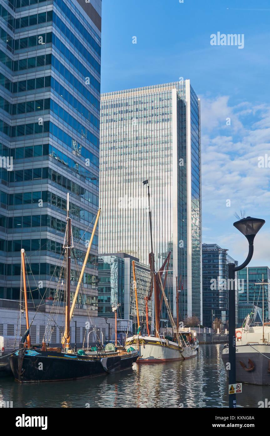 Sailing ships at Canary Wharf, Isle of Dogs, East London UK - Stock Image
