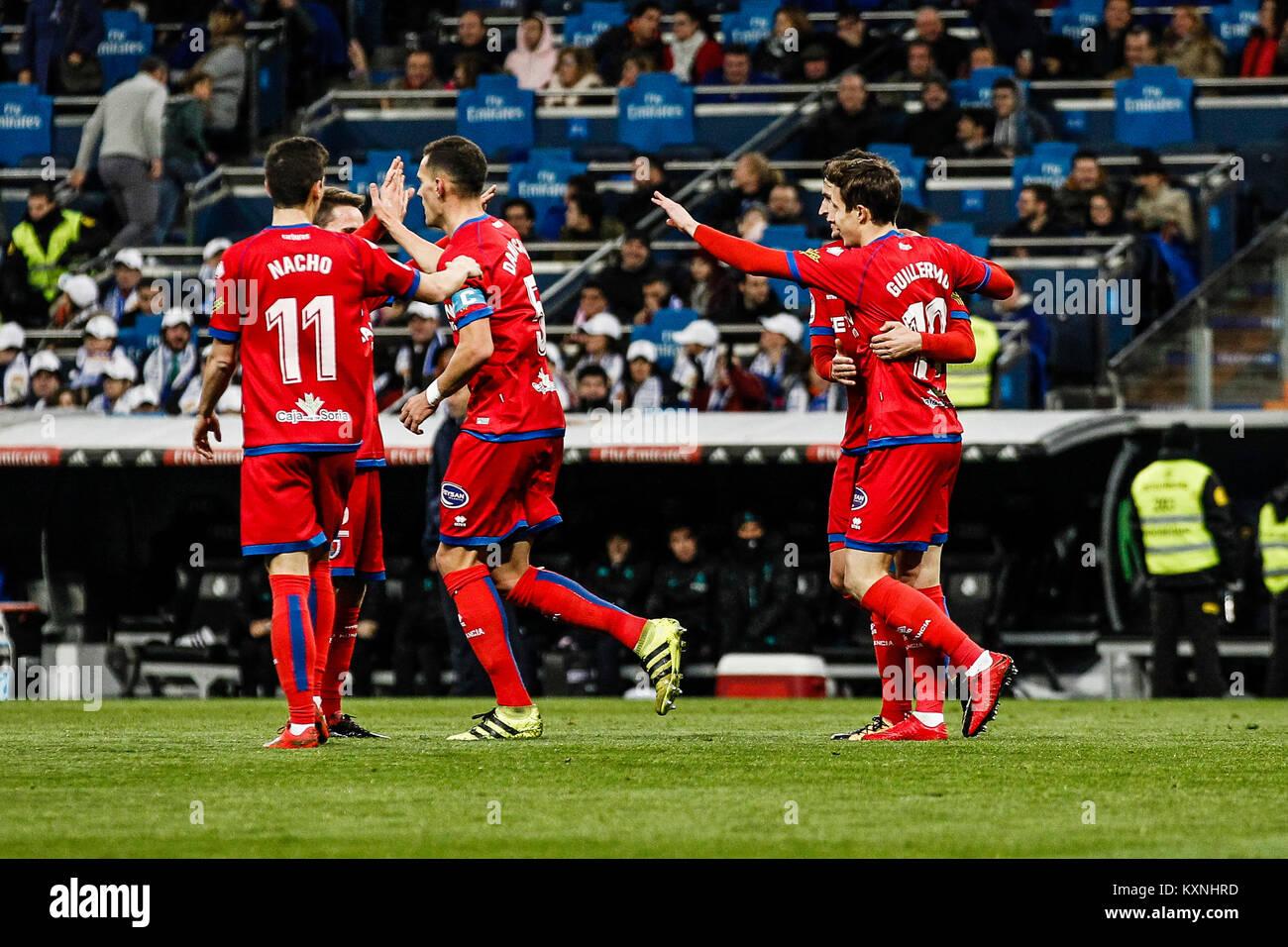 Madrid, Spain. 10th Jan, 2018. Guillermo Fernandez (Numancia) celebrates his goal which made it (1, 1) Copa del - Stock Image