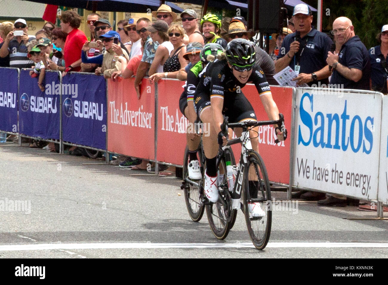 Adelaide, Australia. 11th Jan, 2018. Annette Edmondson wins stage 1 of the Womens Tour Down Under in Gumeracha. - Stock Image