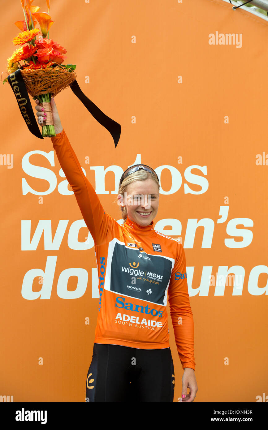 Adelaide, Australia. 11th Jan, 2018. Annette Edmondson winner of stage 1 of the Womens Tour Down Under in Gumeracha - Stock Image