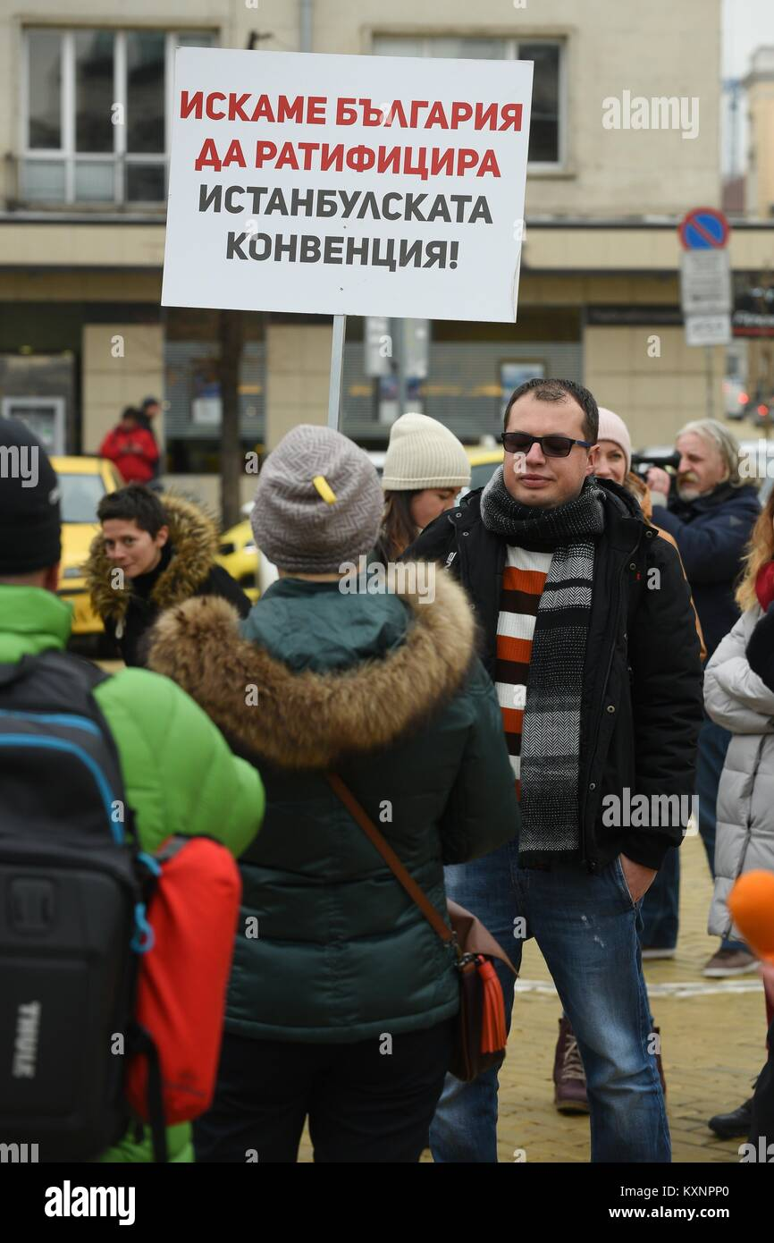 Sofia, Bulgaria. 11th Jan, 2018. 11.01.2017 at 11:00 Square of National Assembly, Sofia, Bulgaria demonstration - Stock Image