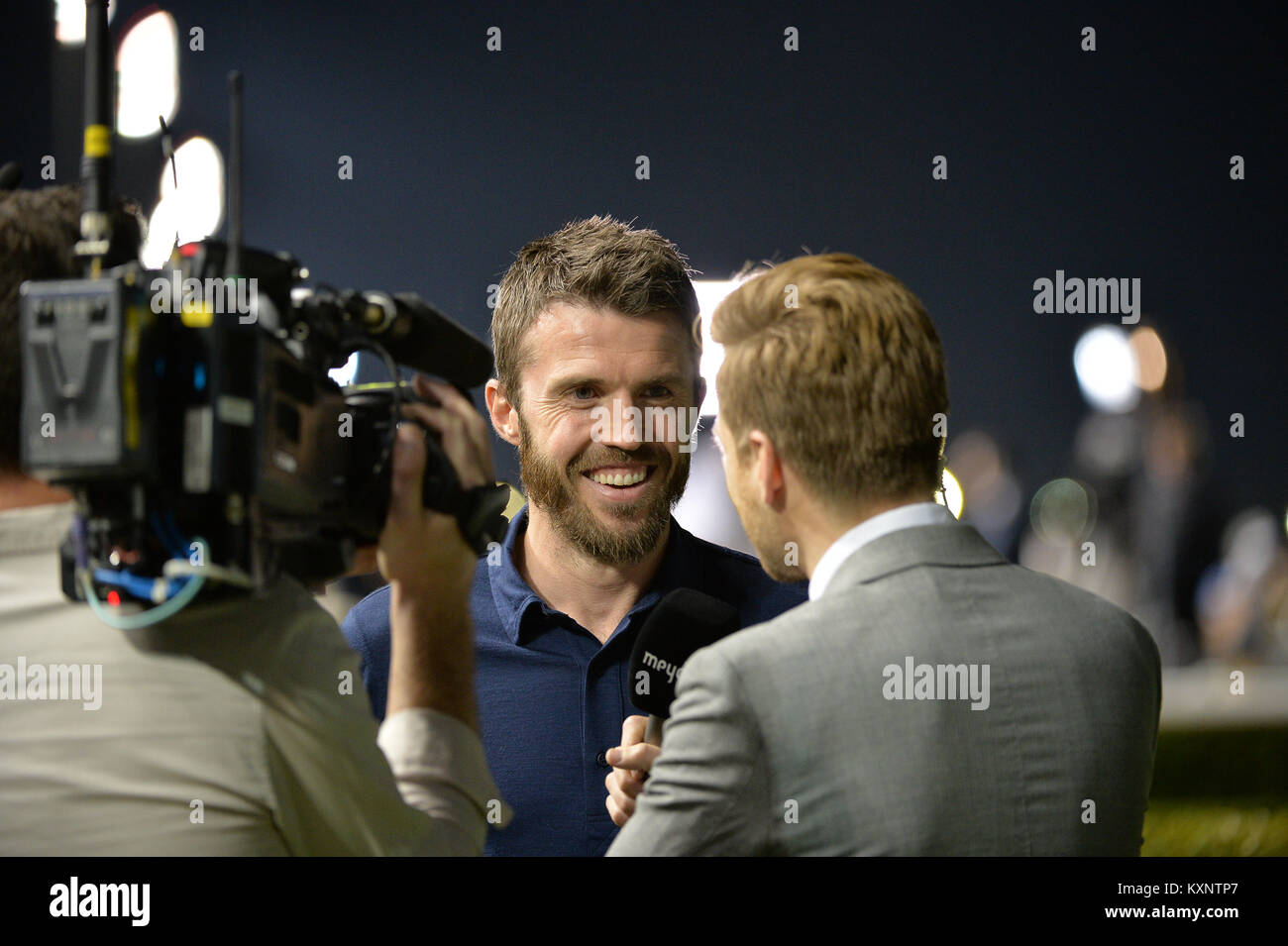 Dubai, UAE. 11th January 2018. Michael Carrick, captain of the Manchester United football club, interacts with media - Stock Image