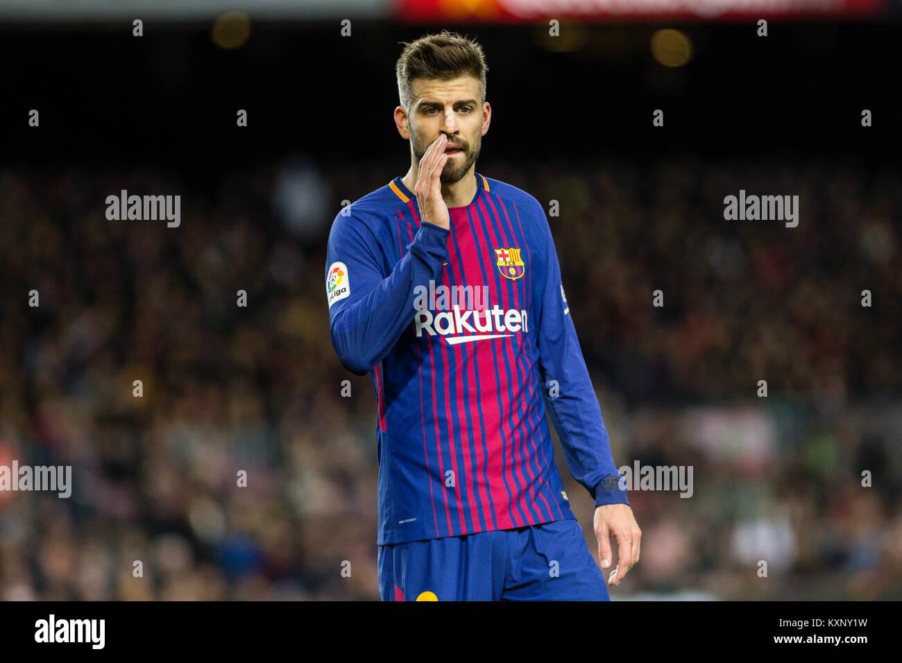 Barcelona, Spain. 11th Jan, 2018. FC Barcelona defender Gerard Pique (3) during the match between FC Barcelona against - Stock Image