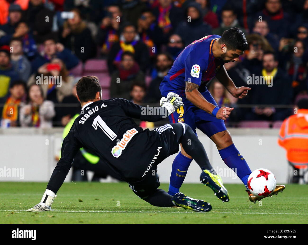 Barcelona, Spain. 11th Jan, 2018. Luis Suarez,11th January 2018, Camp Nou, Barcelona, Spain; Copa del Rey football, - Stock Image