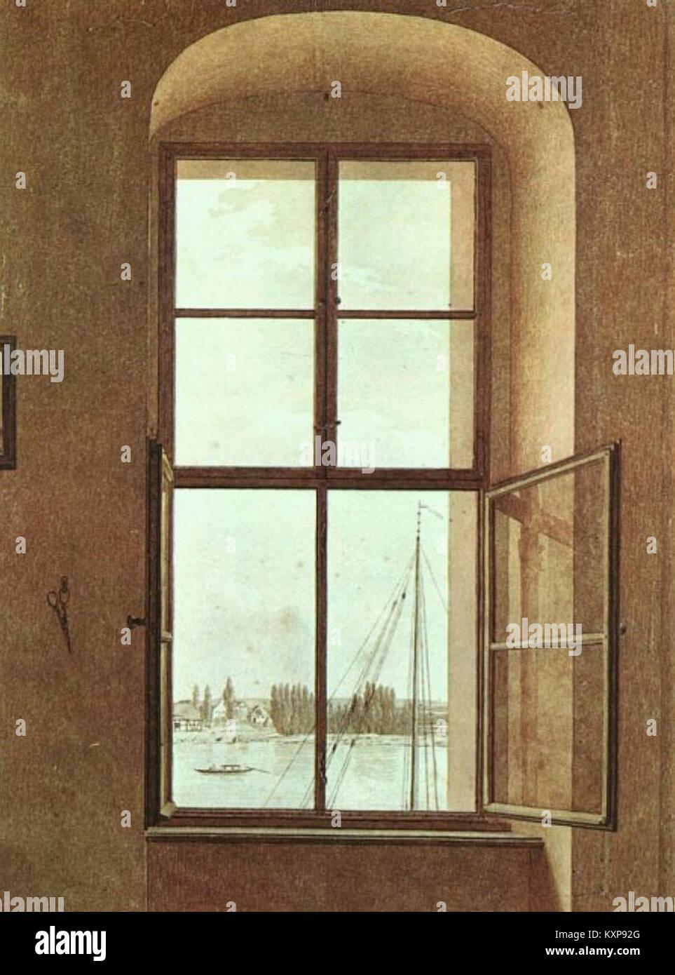 Caspar David Friedrich - Blick aus dem Fenster des Künstlers Stock Photo