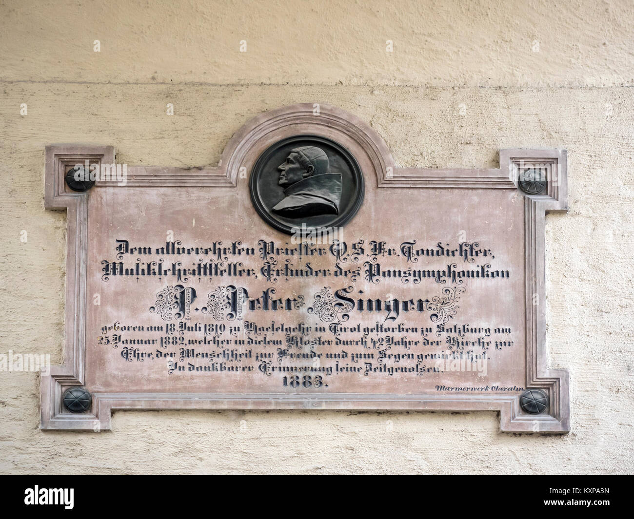 SALZBURG, AUSTRIA:  Memorial Plaque to Father Peter Singer,  inventor of the Pansymphonikons . - Stock Image