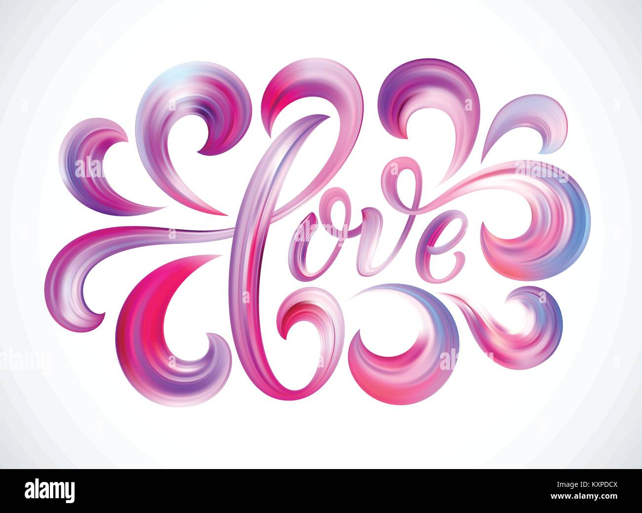 Love Word Hand Drawn Lettering Color Paint Brush Texture Modern Calligraphy Valentines Day Design For Print On Card Poster Banner Vector Illustration