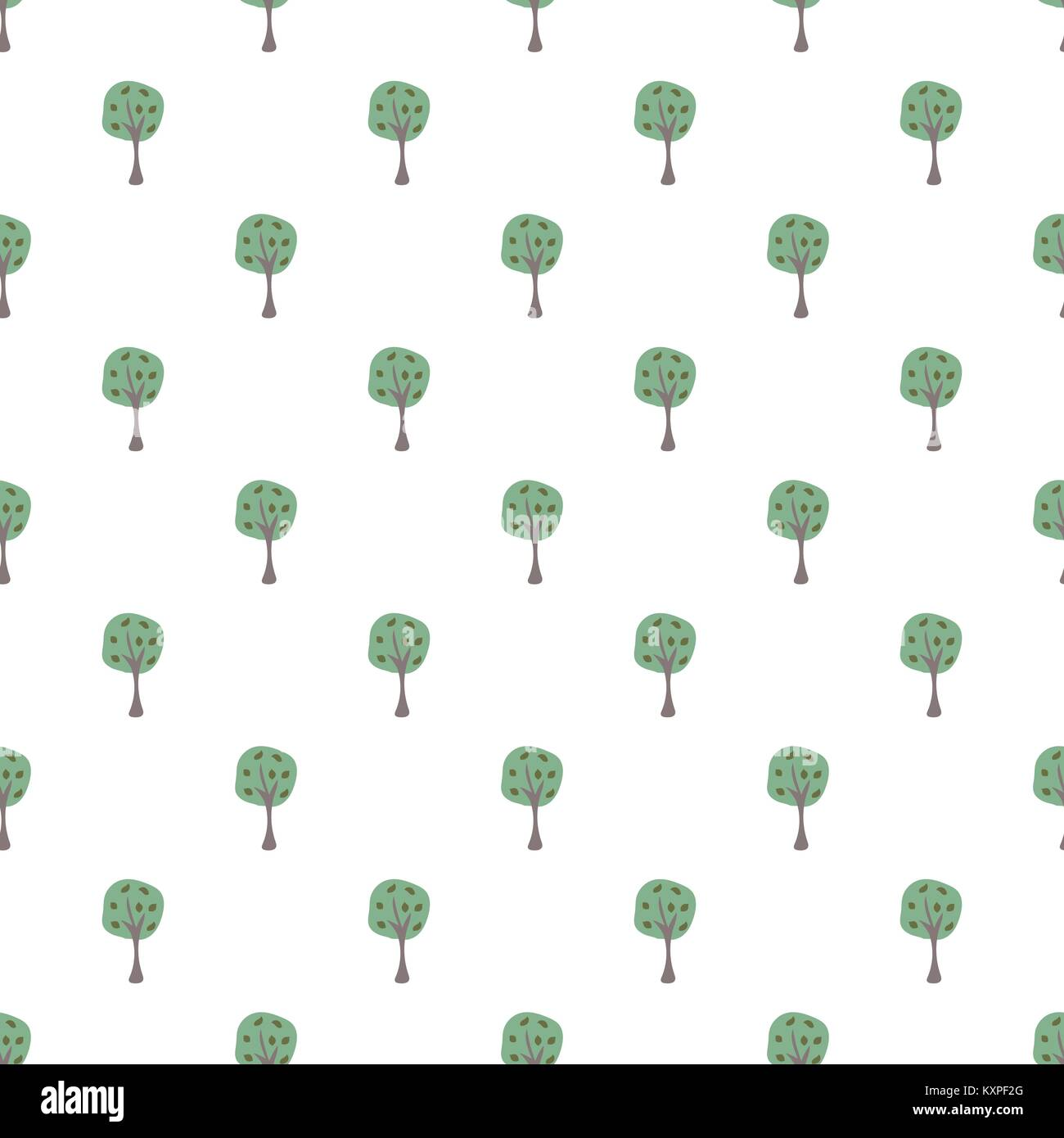 Scattered Trees. Tree landscape seamless background. Hand Drawn Design. Vector Illustration. Holiday Card. For cards, - Stock Vector