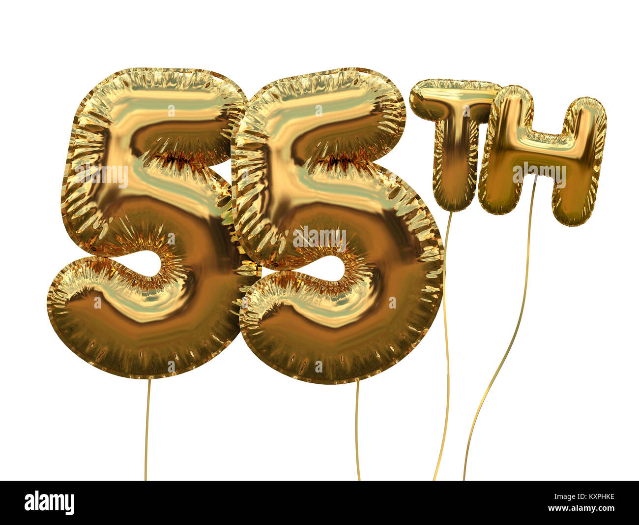 Gold Number 55 Foil Birthday Balloon Isolated On White Golden Party