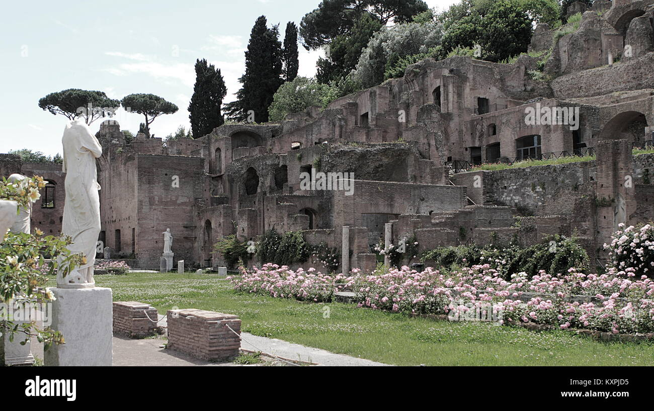 Ruins of the Temple of Vesta at the Foro Romano in Rome, Italy - Stock Image