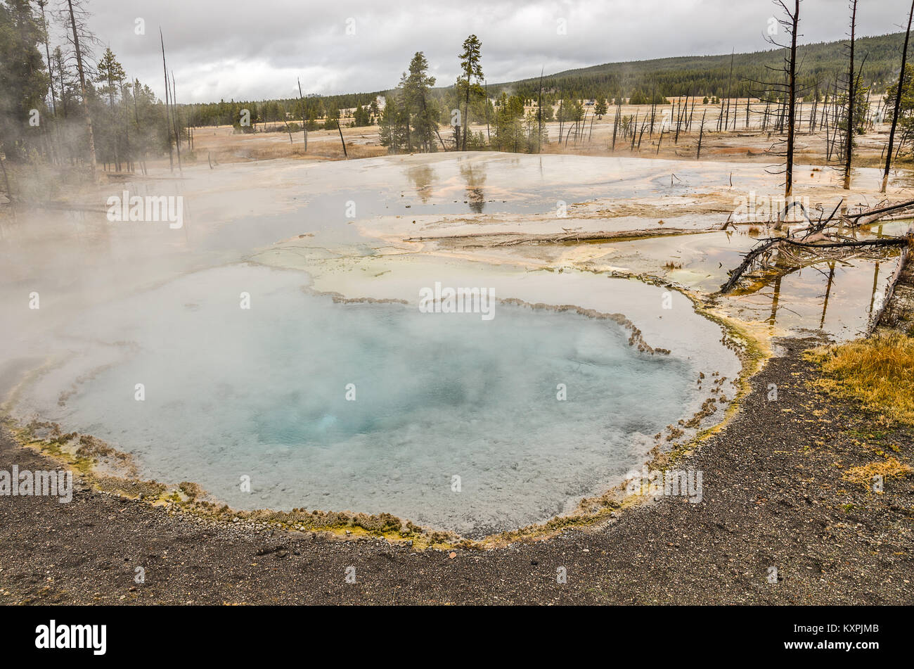 Beautiful turquoise or aqua color in the middle of this hot springs pool in Yellowstone National Park - Stock Image