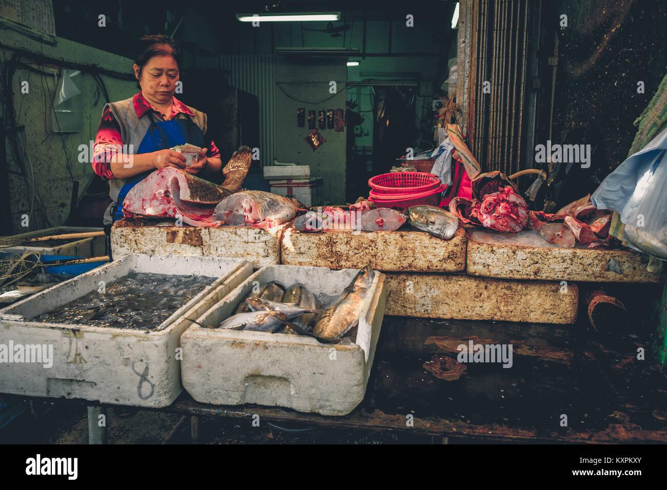 Fish market at Tai O on Lantau Island in Hong Kong. - Stock Image