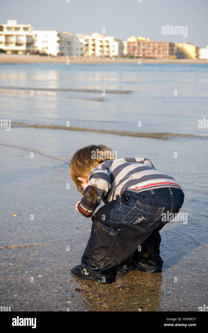 a four year old boy, fully clothed and soaked, bends over in the sea to retrieve a small crab - Stock Image