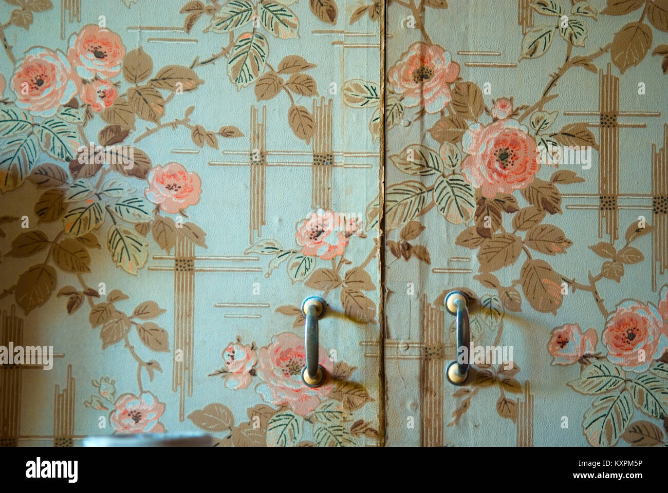 Pink patterned wallpaper and flowers stock photos pink patterned close up of wardrobe doorl with old wallpaper from 1920s in a house in southern france mightylinksfo