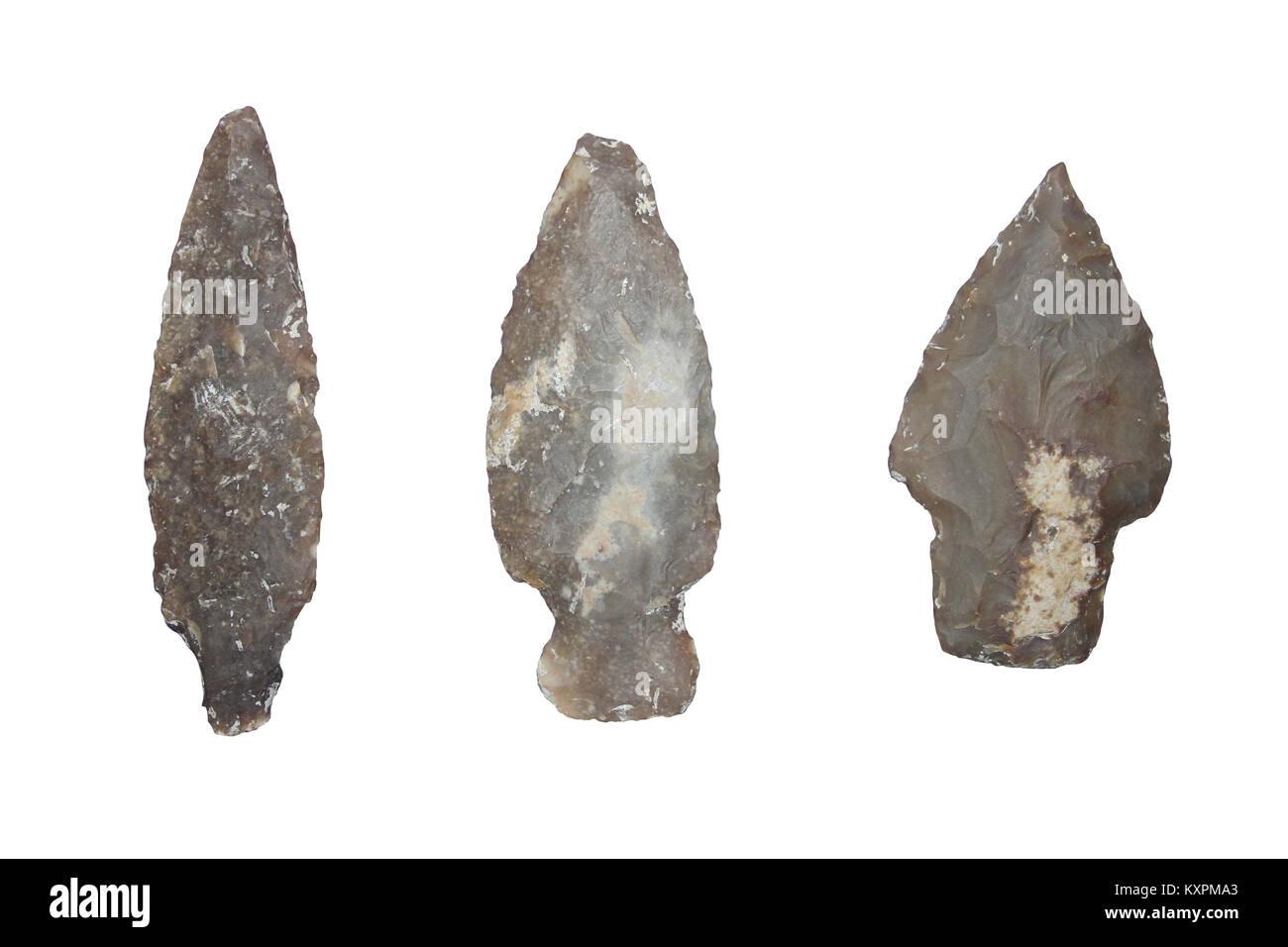 Mayan Flint Arrowheads, Belize (Late Classic Period 800-900 A.D.) - Stock Image