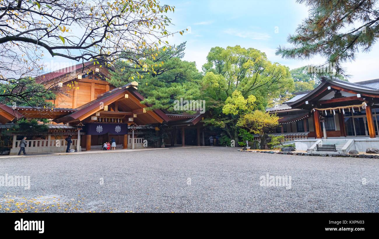 Atsuta-jingu (Atsuta Shrine) in Nagoya, Japan  NAGOYA, JAPAN - NOVEMBER 18, 2015: Atsuta Shrine is one of Shinto's - Stock Image