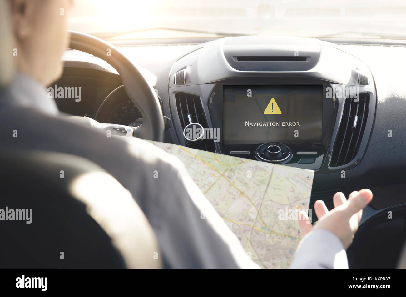 Man lost the way. Failure of the GPS navigation system - Stock Image
