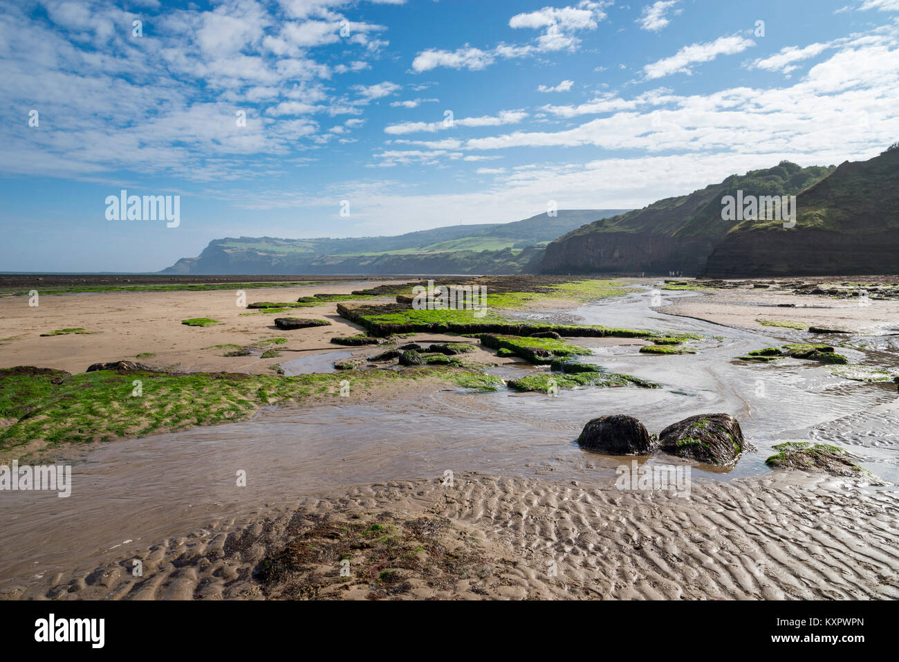 Beautiful beach and high cliffs at Robin Hood's Bay on the coast of North Yorkshire, England. View towards Ravenscar. - Stock Image