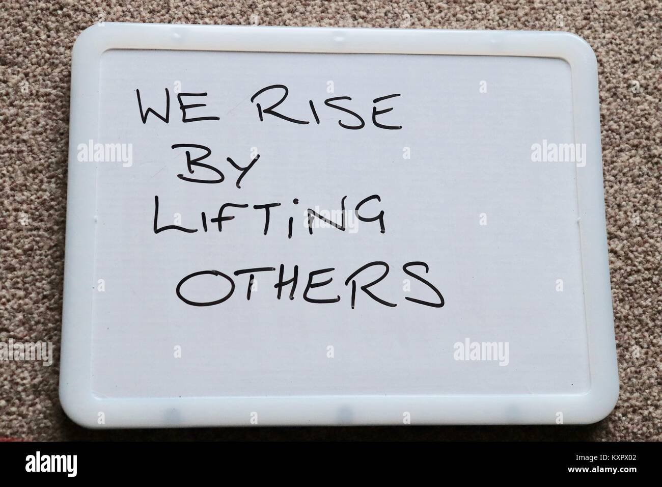 Whiteboard Saying Meaningful Quotes Of The Day To Inspire And Stock Photo Alamy