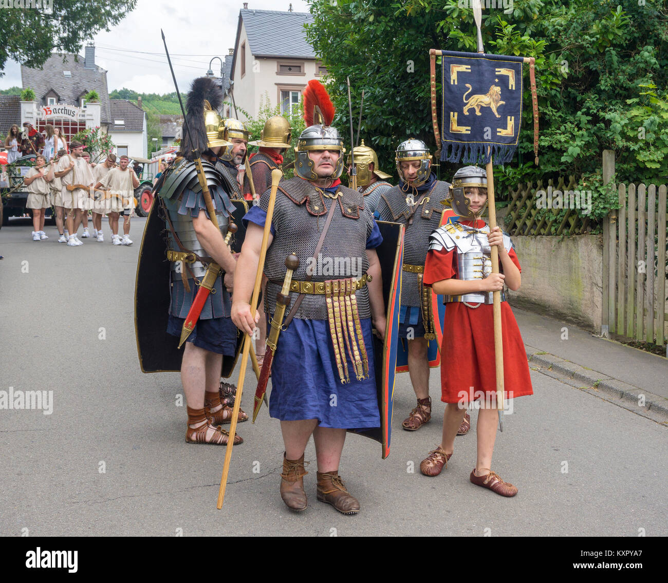 Locas with roman soldier costumes at the wineship festival, Neumagen-Dhron, Moselle river, Rhineland-Palatinate, Stock Photo