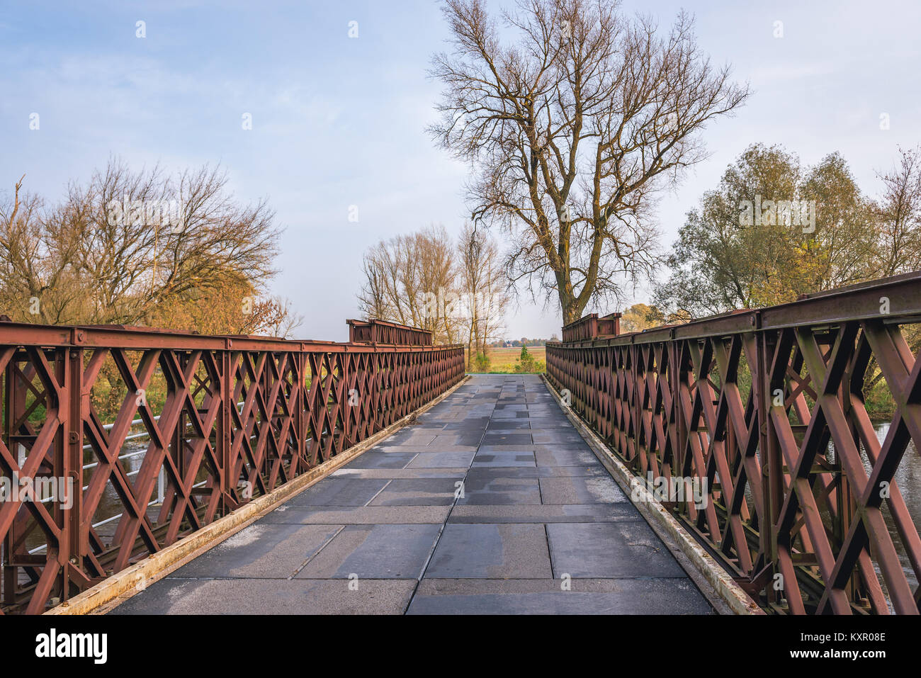 Old bridge over Bzura River in Witkowice village, Sochaczew County in Masovian Voivodeship of Poland - Stock Image